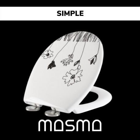 Deska sedesowa Simple biała z wzorem kwiatowym