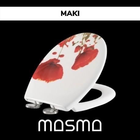 Deska sedesowa Maki biała z wzorem kwiatowym