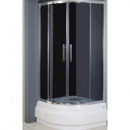Kabina prysznicowa RODOS półokrągła 80 x 80 x 165 szkło MROŻONE